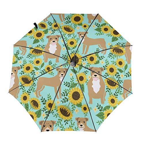 Pitbull Sunflowers - Sombrilla automática con diseño de girasoles y flores, color verde