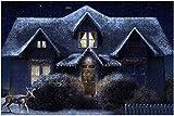 Christmas Cottage Rompecabezas de piezas grandes para adultos, niños, entretenimiento creativo, rompecabezas de madera, decoración del hogar, 500 piezas 52 * 38 cm