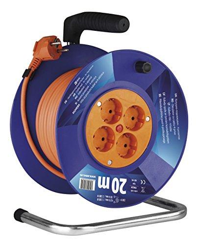 EMOS Kabeltrommel Schuko, 20m Kabel mit 1mm Querschnitt, 4 Steckdosen, Indoor Kabelrolle, Schutzklasse IP 20, 2300 W, 230 V