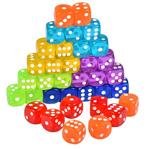POKIENE Juego de 35 Piezas de Dados de 6 Lados con Una Bolsa Negra con Cordón, Dados de Juego Estándar para Aprender Matemáticas, Casino, Juegos, Fiesta(Colorido y 16 MM)