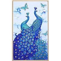 GAD ダイアモンドペインティングキット 大人用 フルドリル 子供用 ダイヤモンドアート 工芸 絵画 ブルー グリーン クジャク ラインストーン ドット Onesize H081