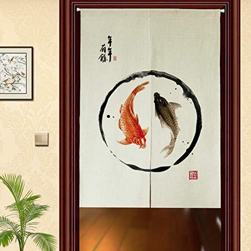 Be&xn Traditionelle chinesische tusche wash malerei Muster Tür Vorhang Japanische noren Für Schlafzimmer Tür-Vorhang-A 85x150cm(33x59inch)