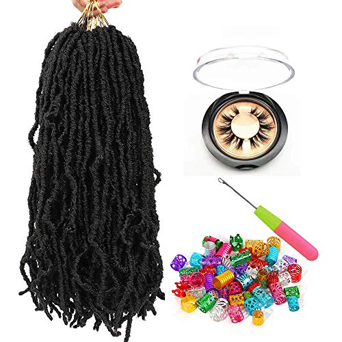 New Locs Crochet Braids 18inch Nu Soft Locs Faux Locs Crochet Braid 6 Packs/lot Natural Goddess Locs Synthetic Hair African Roots Braid Collection Hair Extension (18inch 6Packs, 1B#)