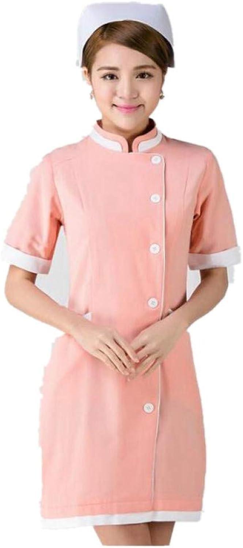 ESENHUANG Pink Clothing Women Stand Collar Short Sleeve Nurse Uniforms Hospital