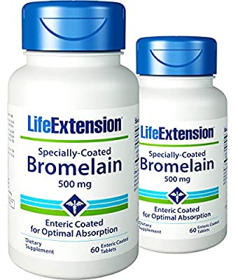 Life Extension Specially-Coated Bromelain, 60 Tablets (Pack of 2)
