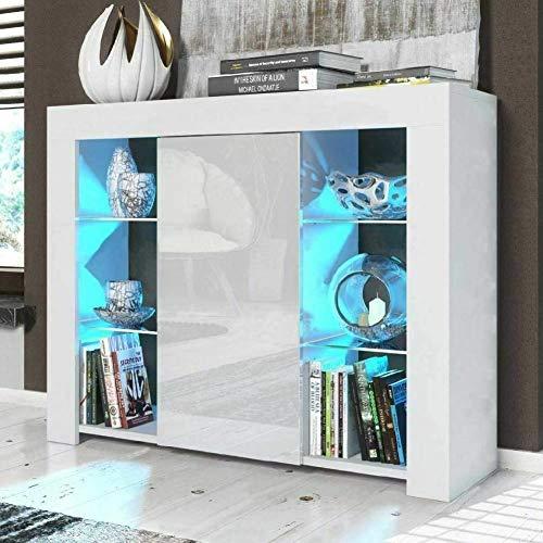 EBTOOLS Lagerschrank, Modernes Display Sideboard Kommode Hochglanz Tür Sideboard mit LED Leiste Fernbedienung für Flur Wohnzimmermöbel, 97,5 x 35 x 83,5 cm(Weiß)