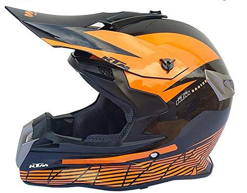 ZGYZ Casco de Motocross Negro Brillante Naranja, Conjunto de Casco de Choque de Motocicleta de Cross Country Gancho para Casco Forro Desmontable Casco de Enduro para Moto ATV MTB