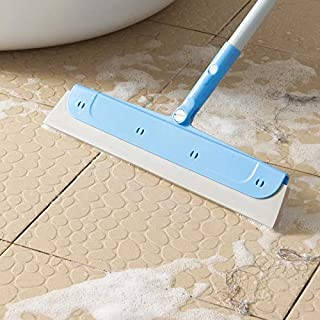 Floor Squeegee with Long Handle - Extendable Concrete Floor Cleaner Wiper, Wide Water Pusher Foam Broom Squeegy for Garage...