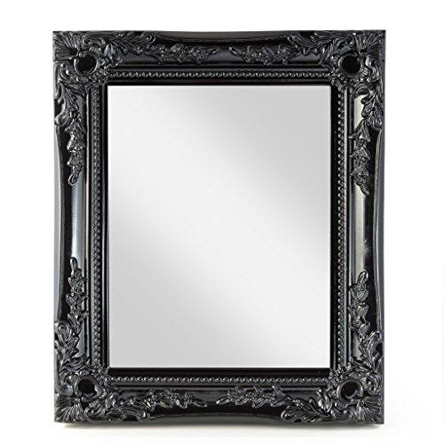 elbmöbel 32x27x3cm rechteckiger Wand-Spiegel klein, handgefertigter Vintage-Antik-Rahmen aus Holz, schwarz, inkl. Befestigung