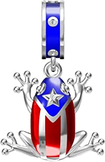 Puerto Rico Coqui Frog Prince Charm Pendant 925 Sterling Silver Fit European Brand Charms