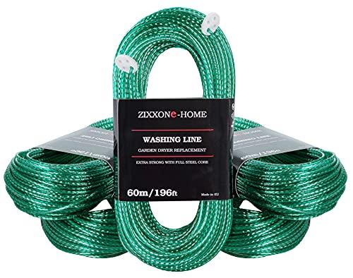 ZIXXONE-HOME Cuerda de Tender Ropa 60 m con 2 tensores Línea de lavado resistente Cuerda extra larga extra fuerte exterior Secador giratorio de jardín Línea de repuesto núcleo de acero completo Verde