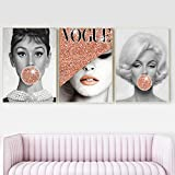 MKWDBBNM Famosos Carteles e Impresiones de Estrellas Audrey Hepburn Bubble Gum Vogue Fashion Lady con Sombrero Póster de Arte de Pared Decoración de Cuadros de Pared Moderna   40x60cmx3 Sin Marco