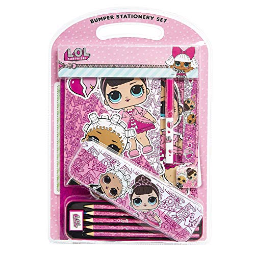 L.O.L. Surprise! Set Papeleria Bonita, Material Escolar Rosa de Las Muñecas LOL, Incluye Estuche Escolar Libretas y Lapices de Colores, Regalos LOL Surprise para Niñas y Adolescentes