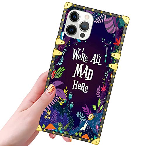 DISNEY COLLECTION iPhone 12 Pro/iPhone 12 Case Alice in Wonderland Pattern Design Glitter Golden Slim Cool Shockproof Bumper Protective 5G Cover for iPhone 12 Pro,iPhone 12 6.1 inch 2020