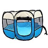 Coolty Parque portátil plegable para mascotas, 8 paneles, tienda de campaña para perros, gatos, conejos y animales pequeños, 91 x 91 x 58 cm (beige + azul)
