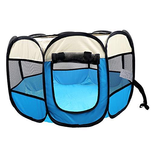 Coolty Tienda de campaña plegable portátil para mascotas, 8 paneles para perros, gatos, conejos y animales pequeños, 91 x 91 x 58 cm (beige+azul)