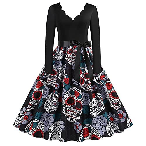 Xiangdanful Vestito da donna anni '50 Rockabilly con motivo floreale vintage anni '50, abito da cocktail rockabilly, gonna a pieghe, abito da sera, e, M