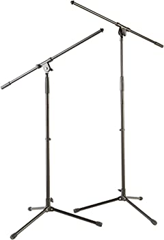 2-Pack Musician's Gear Tripod Mic Stand with Fixed Boom