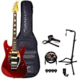 GoDpsMusic 6 String Sawtooth ES Hybrid Blood Red Sparkle Electric Guitar Designed by Michael Angelo Batio w Gig Bag and Accessories, Right, (ST FL-BRS-KIT)