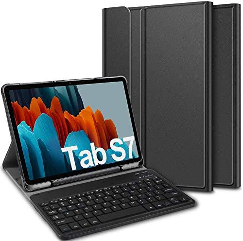 Claelech Funda de teclado para Samsung Galaxy Tab S7 (QWERTY), funda de piel con tapa magnética, función atril, teclado Bluetooth inalámbrico desmontable para Galaxy Tab S7 de 11 pulgadas (negro)