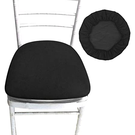 2Pcs Square Round Stretch Dining Wedding Chair Seat Cover for 35-50cm Golden