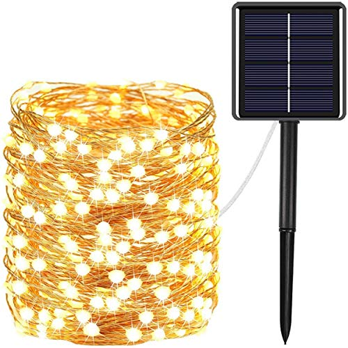 Ultra-Long 72FT 200 LED Solar String Lights Outdoor, Super Bright Solar Lights Outdoor Decorative with 8 Lighting Modes, Solar Powered Fairy Lights for Christmas Party Holiday Wedding (Warm White)