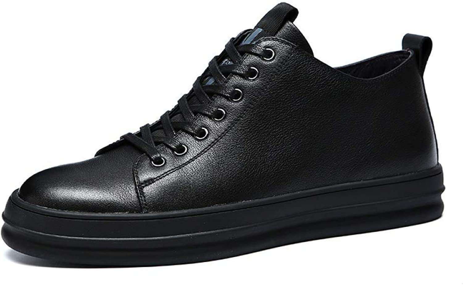 Hhgold New Leather Large Size Men's shoes Casual, shoes Men's Breathable Suede Leather Men's Single shoes Leather shoes Men (color   Black, Size   39)