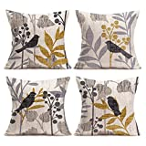 Asamour Vintage Bird and Tree Leaves Decorative Cotton Linen Throw Waist Pillow Case Cushion Cover Grey Golden Pillowcase 18x18 Inches Set of 4(4 Pack Vintage Birds)
