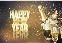 新しい7x5ft新年あけましておめでとうございます背景シャンパンボトルバケツキラキラ写真背景ゴールド花火大晦日お祝いパーティーバナー子供大人の肖像写真スタジオの小道具の壁紙