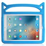 Vabogu iPad 10.2 Protective Cover, iPad 8th/7th Generation Protective Cover-Child Protection Cover 2020/2019, Shockproof and Sturdy Soft Silicone Protective Cover with Handle Bracket (Blue)