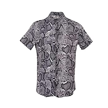 UPAAN Printed Men Shirts Short Sleeve Disco Snakeskin Button Down Casual Shirt