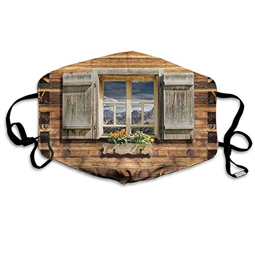 Multifunktionale Gesichtsschutzhülle,Weathered Facade of A Mountain Hut with Summer Mountain Reflections on Window,edruckte Wiederverwendbare Unisex-Gesichtsdekorationen,Persönlicher Schutz