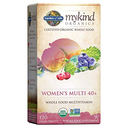 Garden of Life mykind Organics Vitamins for Women 40 Plus - 120 Tablets, Womens Multi 40 Plus, Vegan Vitamins for Women Over 40, Hormone & Breast Health Support Blend, Whole Food Womens Multivitamin