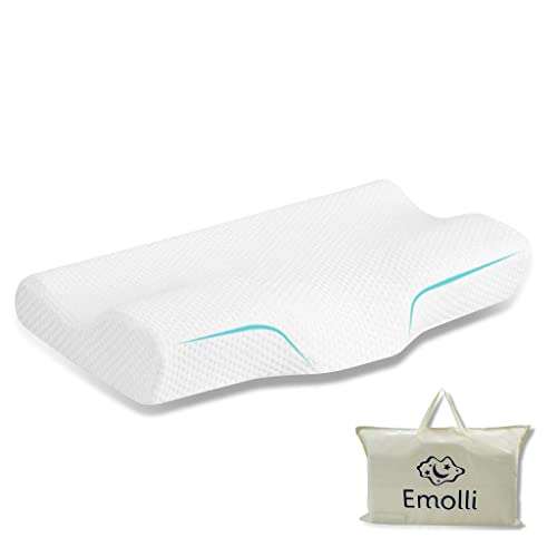 Emolli Contour Memory Foam Pillow, Orthopedic Cervical Bed Pillow for Neck Pain, Ergonomic Pillow for Back, Side and Stomach Sleepers, Anti Snore, With Removable and Washable Cover