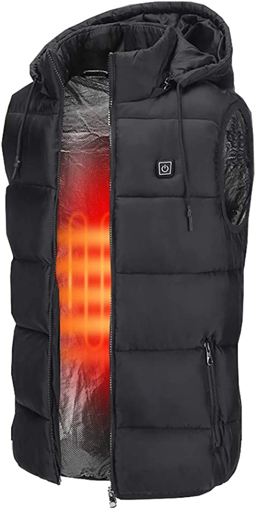 Insulated Heated Vest, Unisex Slim Fit Heated Coat Waistcoat Rechargeable USB Electric Heating Winter Vest