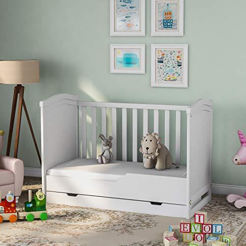 Elliroman Cuna lateral con cajón, cama para cuna de bebé Iris, cama de madera, cama de trineo de madera romana, cajón de almacenamiento de madera maciza y colchón de espuma, cama convertible