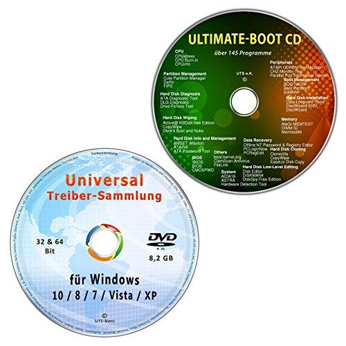 Universal Treiber-Sammlung für Windows 10-8-7-Vista-XP (32 & 64 Bit) + Ultimate Boot / Ersthilfe & Notfall-CD [System-Diagnose- und Reparatur-Werkzeuge] (2 CD/DVD-Set)