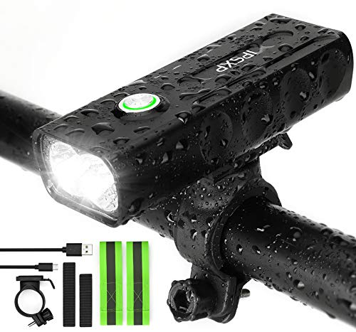 IPSXP 1000 Lumens Bike Light, USB Rechargeable LED Bicycle Front Headlight High Bright 6 Hours Mountain Road Cycling Safety Commuter Flashlight with 3 Modes, Waterproof Bike Light