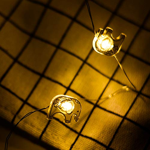 ELINKUME Warm White String Lights 20LEDs Lovely Elephant Shape Battery Operated LED Fairy Lamp 2.3M Wire Lights for Indoor/Christmas/Holiday De/Valentine' s Day