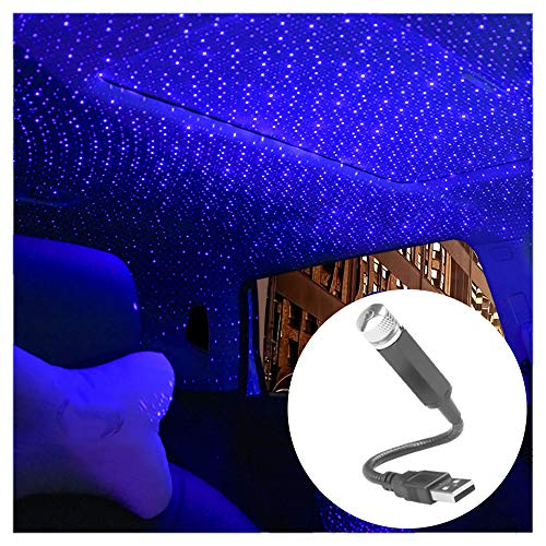 USB-Nachtlicht, Romantisches Auto-Dachprojektor-Licht, frei biegbar, Innenbeleuchtung, Atmosphäre Dekoration für Auto, Decke, Schlafzimmer, Party, Lila und Blau