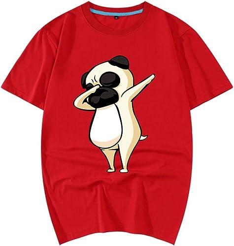 Pull 3D Sweat-Shirt 2018 Robe Rouge en Coton à Manches Courtes T-Shirt à Manches Courtes 3D Animal Pattern Chemise pour Hommes 155   XS rouge 4