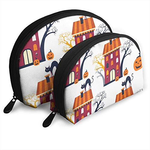 XCNGG Halloween Holiday Design Storage bag Coin Purse Cosmetic Travel Storage Bag One-Big and One-Small 2Pcs Stationery Pencil Multifunction Bag Child Wallet Key Case Handbag
