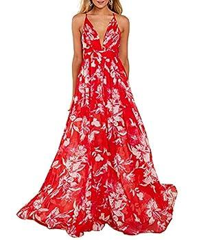 Remelon Womens Sexy Spaghetti Strap Deep V Neck Floral Boho Stripe Criss Cross Backless Chiffon Beach Party Long Maxi Dress Red M
