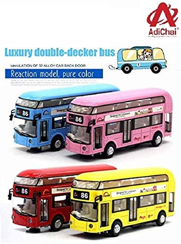 Adichai Die Cast Metal Double Decker London Bus For Kids Pull Back Play Toy With Lights And Music For Kids ( Random C...