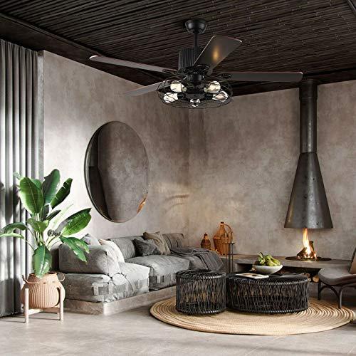 Ventilador de techo LED vintage de 52 pulgadas, con jaula industrial de metal negro retro, lámpara del ventilador 5 aspas reversibles, con mando a distancia, 5 lámparas, para salón dormitorio