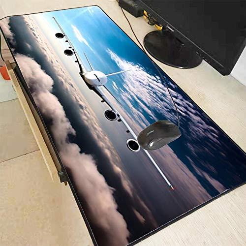 Mauspad Xxl Flugzeug Wolken Große Büro Computer Schreibtisch Matte Tisch Tastatur Mauspad Laptop Kissen Schreibtisch Matte Lock Edge Mousepad 400X800X2Mm