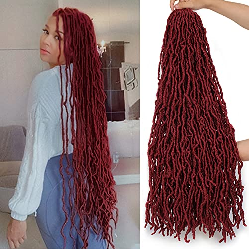 ZRQ Red 36 Inch New Faux Locs Goddess Locs Pre-Looped Curly Wavy Hair 4 Packs Afro Roots Synthetic Hair Extensions Most Natural Super Long Soft Locs Crochet Dreadlock Hair Crochet Braids Hair for Black Women (36 Inch, bug#)