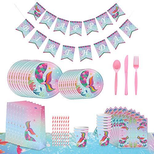 Juego de Vajilla Desechable Para Fiestas 76 Piezas con Diseño de Sirena Platos, Pancartas Servilletas, Cubierta de Mesa, Tenedores, Cucharas,Para Bodas, Aniversarios, Cumpleaños (8 invitados)