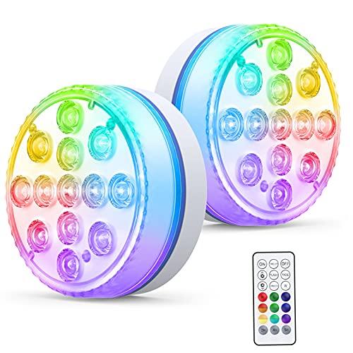 Smarich Unterwasser Licht, IP68 Wasserdichtes Poolbeleuchtung mit RF Fernbedienung, RGB Multi Farbwechsel LED Unterwasserlicht mit 13 LEDs,...