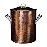 Sertodo Copper Big Beautiful Stock Pot with Lid, 3.5 gal capacity, Pure Copper, Heavy Gauge, Hand Hammered, Patented Stainless Steel Handles, 10 x 12 inch